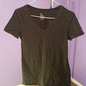 Gap V-neck black short sleeves top